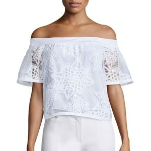 Jonathan Simkhai White Lace Geometric Burnout Top